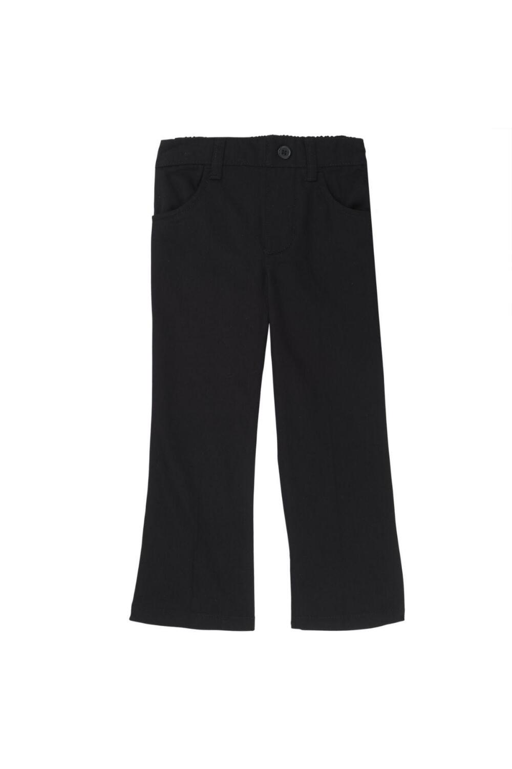 French Toast Girl's Straight Leg Twill Pant (Pant Color: Black, Pant Size: Size 4T)