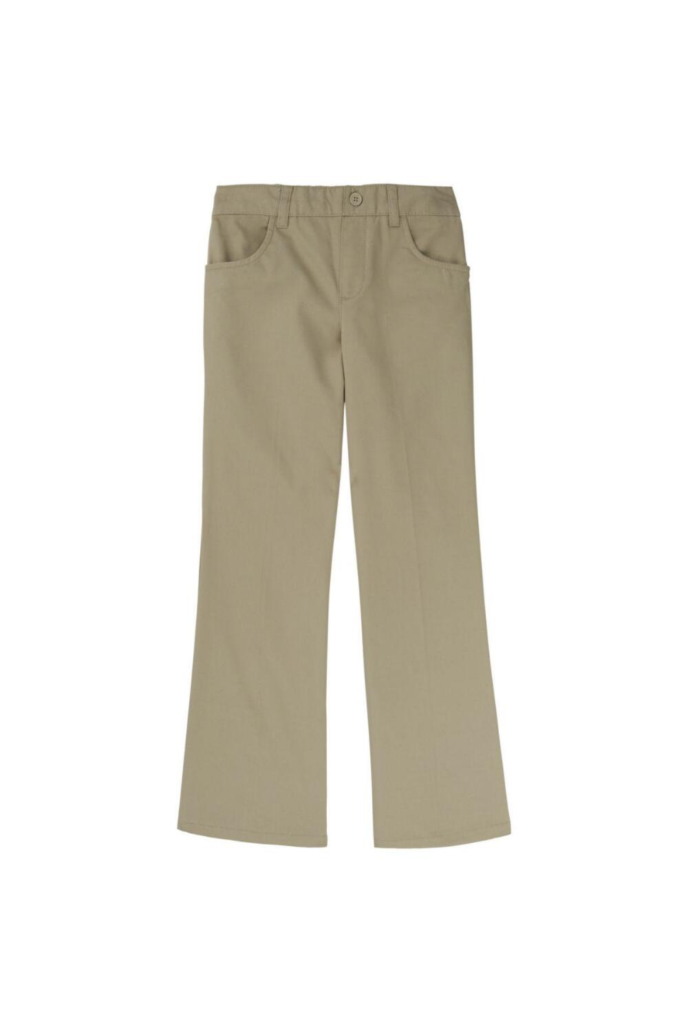 French Toast Girl's Straight Leg Twill Pant (Pant Color: Khaki, Pant Size: Size 4T)