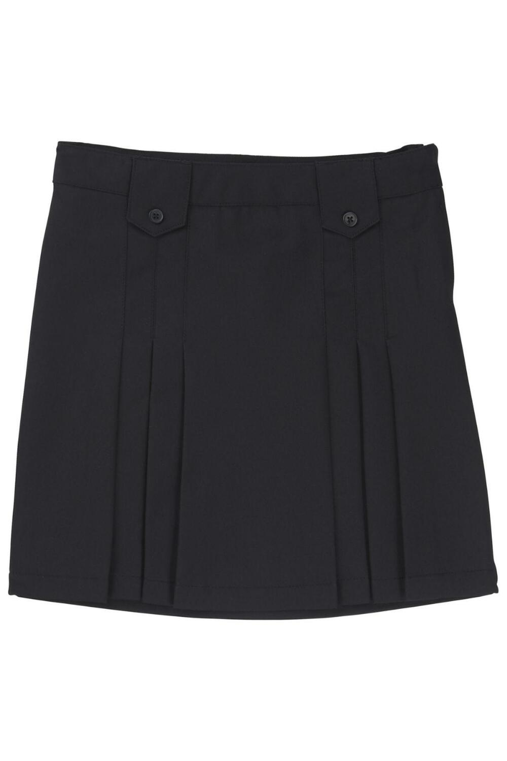 French Toast Front Pleated Skirt (Color: Skirt Black, Size: Skirt Size 5)