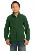 Youth Soft, Light-Weight Fleece Jacket. Y217. (Color: Forest Green, Size: Small)