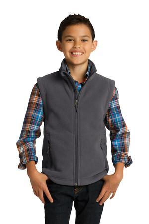 Youth Super-Soft, Mid-Weight Fleece Vest by Port Authority. Y219. (Color: Iron Grey, Size: Large)