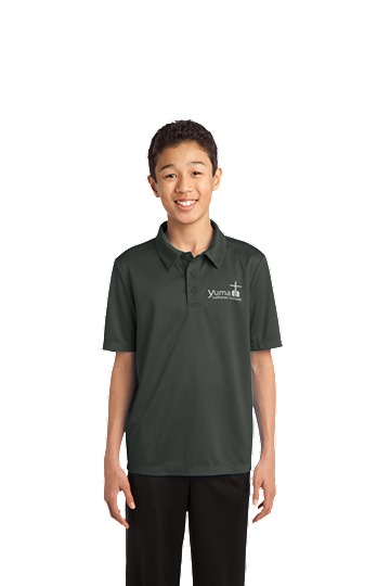 Port Authority® Youth - Unisex - Silk Touch™ Performance Polo - YLS (Performance Polo Color: Grey, Polo Sizes: YXS 4)
