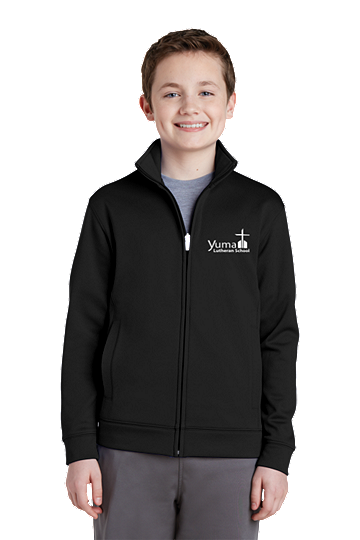 Sport-Tek® Youth Sport-Wick® Fleece Full-Zip Jacket - YLS (Jacket Size: YXS Size 4, School Colors: Black)