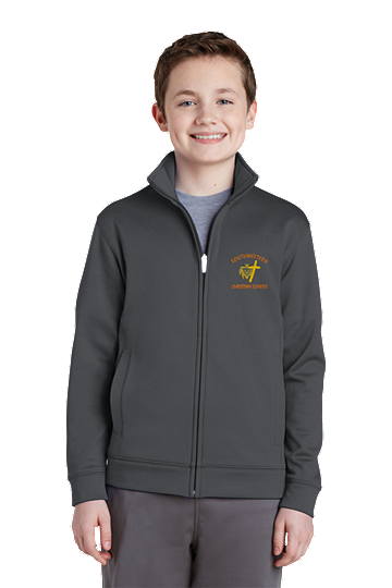 Sport-Tek® Youth Sport-Wick® Fleece Full-Zip Jacket - SWCS (Color: Dark Smoke Grey, Size: XS - Size 4)