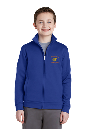 Sport-Tek® Youth Sport-Wick® Fleece Full-Zip Jacket - SWCS (Color: True Royal, Size: XS - Size 4)