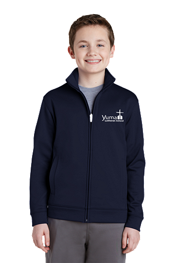 Sport-Tek® Youth Sport-Wick® Fleece Full-Zip Jacket - YLS (Jacket Size: YXS Size 4, School Colors: Navy)