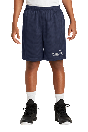 Mini Mesh P.E. Shorts - YLS (Color: Navy, Size: YXXS - Size 4)